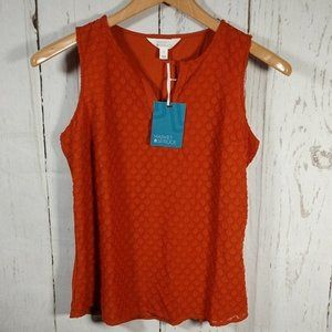 Market & Spruce Ezide Textured Print Top Rust L